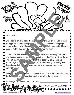 November Resources From Teacher S Clubhouse Family Turkey Project Template
