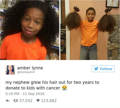 how to grow out hair after cancer this 8 year old boy spent 2 years growing his hair to make