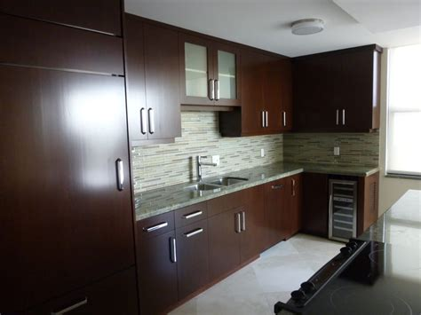 Contemporary Kitchen Cabinets Featuring Cherry Brown Modern Cherry Kitchen Cabinets