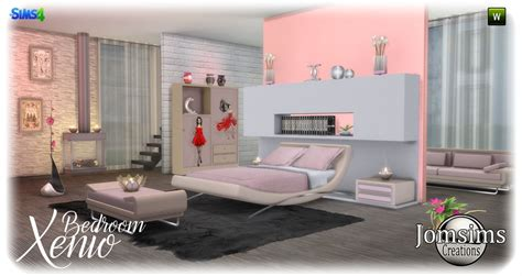 White Modern Bedroom chambre adulte sims 4
