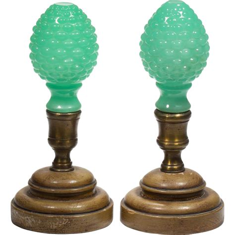 Vintage L Finials by Antique Green Opaline Finials Newel Post Quot Pair Quot From