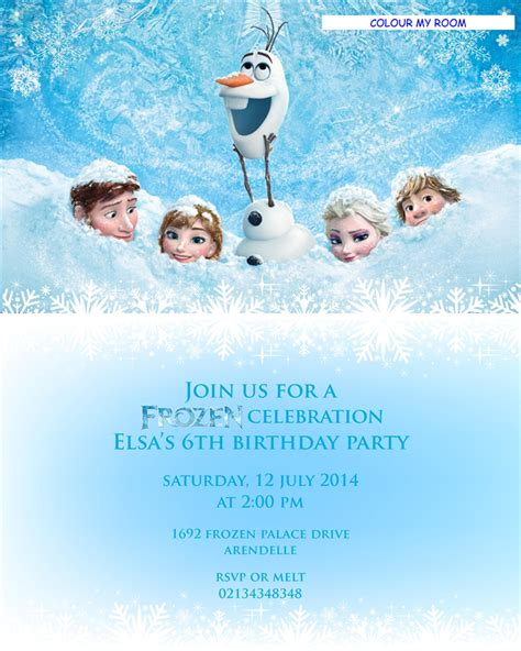 printable frozen invitation card printable frozen birthday party personalised invitation