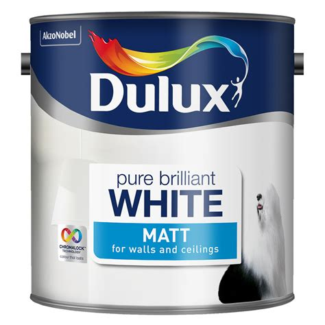 Dulux Bathroom Paint Matt dulux matt emulsion brilliant white 2 5l painting