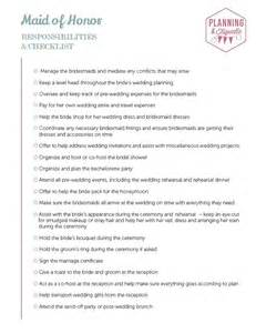 best printable wedding party duties checklist