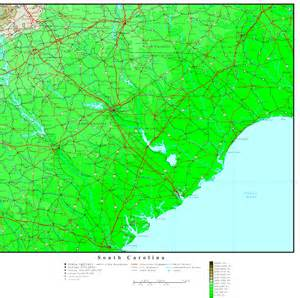 map or carolina south carolina elevation map