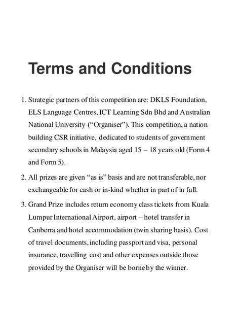Terms And Conditions Template Nz Free