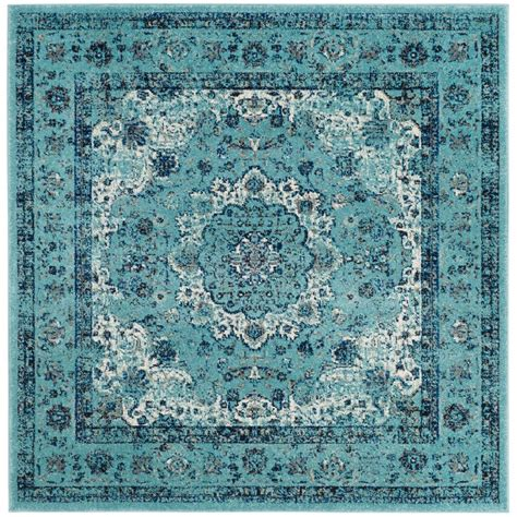 Square Area Rugs 9 X 9 Safavieh Evoke Light Blue 9 Ft X 9 Ft Square Area Rug Evk220e 9sq The Home Depot