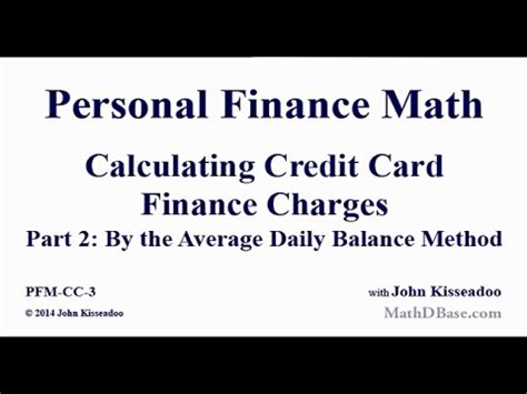 Credit Card Finance Formula Personal Finance Math 3 Calculating Credit Card Finance Charges Part 2