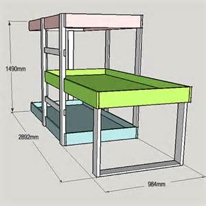 3 Level Bunk Bed Project Plans Diy 3 Level Bunk Beds Tools4wood