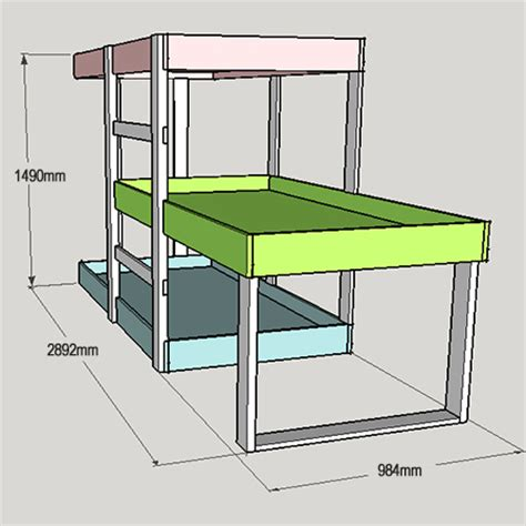 Three Level Bunk Bed Project Plans Diy 3 Level Bunk Beds Tools4wood