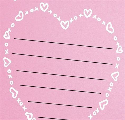 free heart shaped valentine s day lined paper template