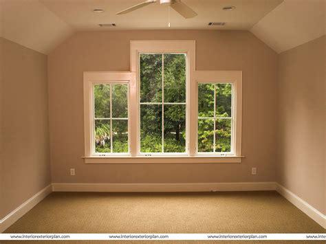 interior exterior plan empty bedroom  large windows