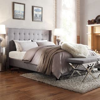 inspire q beds inspire q marion grey linen nailhead wingback tufted