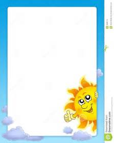 Frame With Cartoon Lurking Sun Royalty Free Stock Images