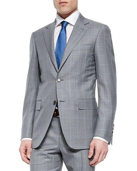 light grey windowpane suit canali windowpane two wool suit light gray neiman