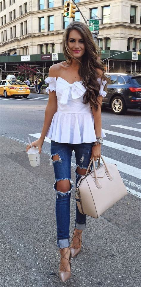 shoulder top spring outfits summer outfits fashion