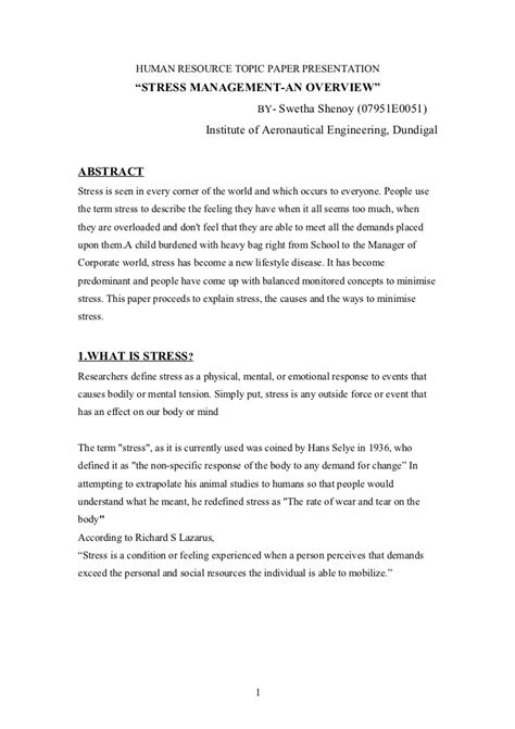 Essay On Stress by Paper On Stress