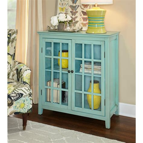 linon home decor linon home decor largo antique turquoise storage cabinet
