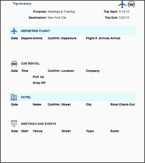 8 Vacation Itinerary Planner Layout Sletemplatess Sletemplatess Business Travel Itinerary Template