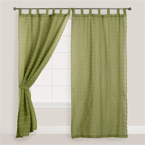 jute drapes green striped sahaj jute tab top curtains set of 2