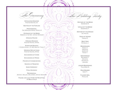 program for event template wedding reception order of events template open up a even