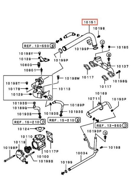 2000 mitsubishi montero sport 3 0 engine diagram water coolant bypass pipe w o ring montero montero sport