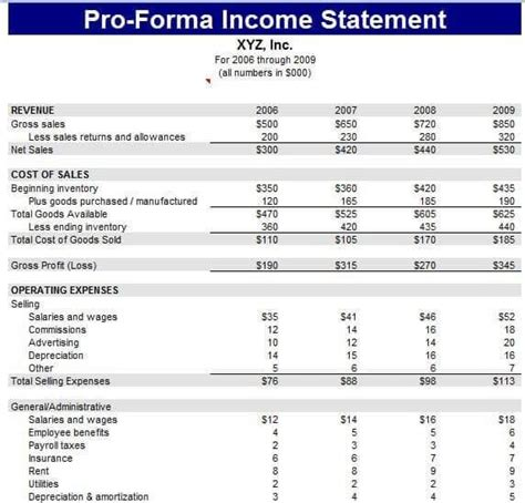 pro forma profit and loss statement template why do you actually need a pro forma income statement