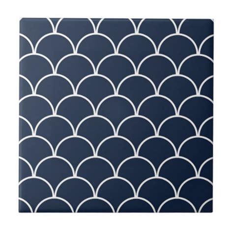 navy patterned tiles white semi circles on navy pattern ceramic tile zazzle