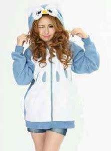 Baju Atasan Wanita Sweater Cewek Biru Fleece Le Petit Sweater Navy jaket cewek owl kuping bahan fleece tebal