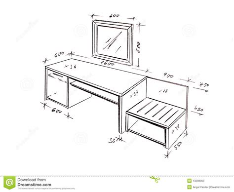 Sofa Sketch Freehand by Modern Interior Design Desk Freehand Drawing Stock Photos