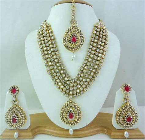brautschmuck set pearl pink rani haar gold tone necklace