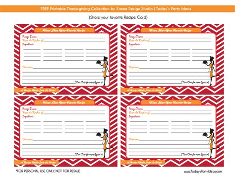 printable recipe cards for thanksgiving free printables kroma design studio today s party ideas