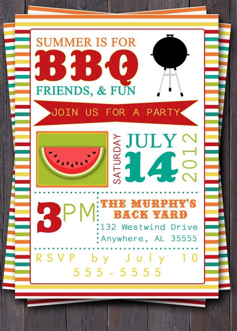 Bbq Party Invitation Invite Birthday Baby Shower Pool Party Summer Party Picnic Summer Bbq Invite Template
