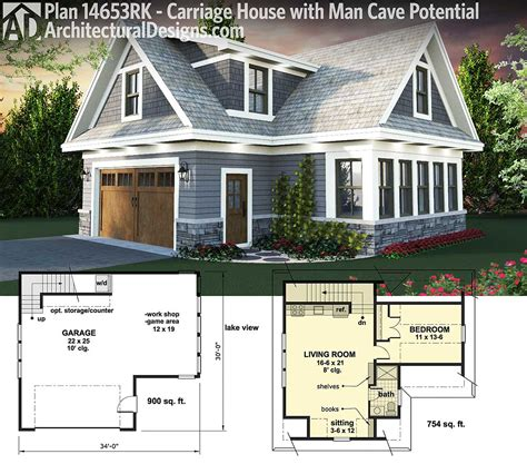 guest house plans with garage plan 14653rk carriage house plan with man cave potential