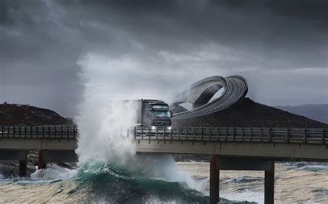 nature landscape sea bridge trucks volvo waves storm road lights vehicle hills