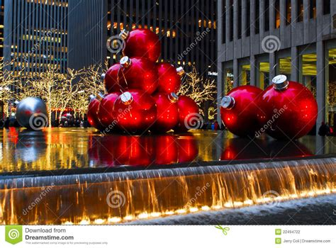 oversized christmas lights nyc giant christmas ornaments in manhattan nyc editorial