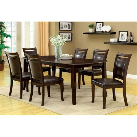 extendable dining sets furniture of america kitner 7 extendable dining set in cherry idf 3024t 7pc set
