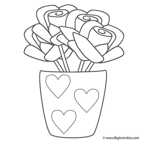 coloring page of vase roses in vase with hearts coloring page mother s day