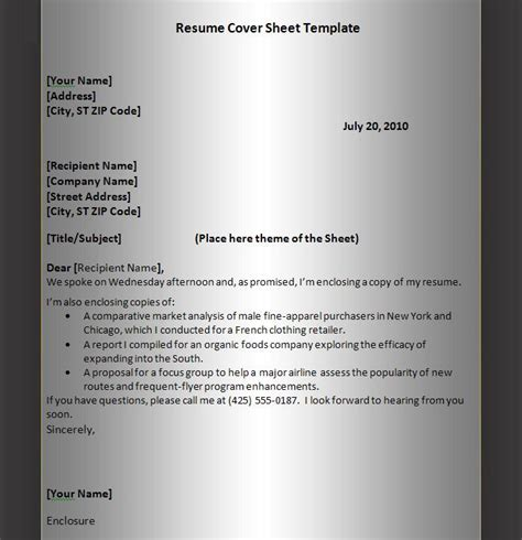 Cover Page For Resume Exle by 301 Moved Permanently
