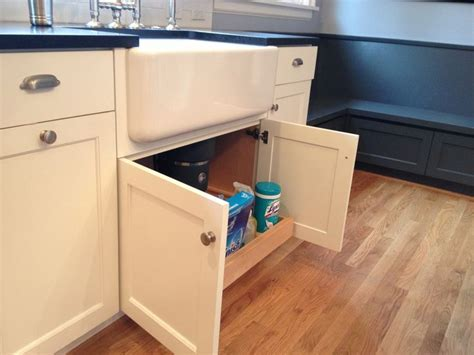 Kitchen Cabinet Pull Out Storage Custom White Cabinets With Farmhouse Sink Pull Out Under