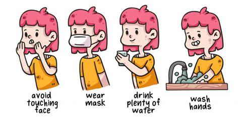 premium vector woman covid  proper hygiene illustration