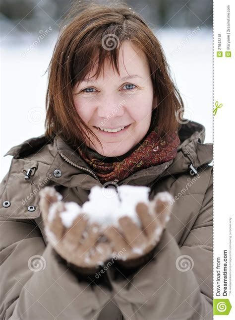 middleage woman fun happy middle age woman in winter royalty free stock photos