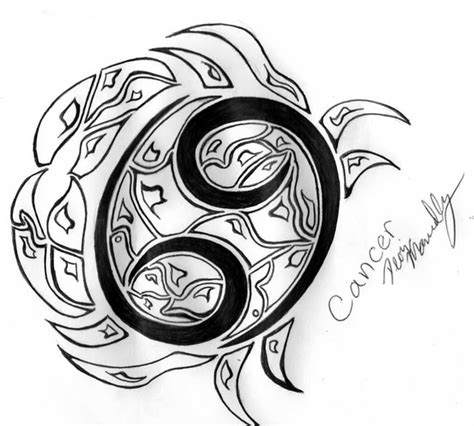 tribal zodiac tattoos cancer attractive black ink tribal cancer zodiac design
