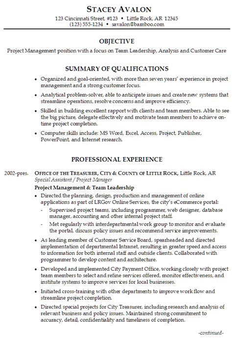 team leader skills resume sle resume for project management focus on team leadership analysis and customer care