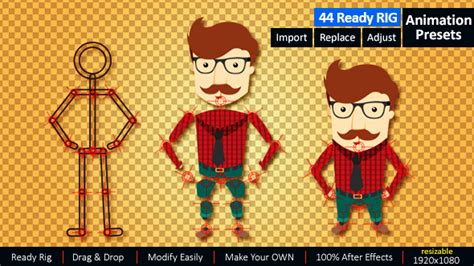 layout animation presets ready rig for your character vector design motion