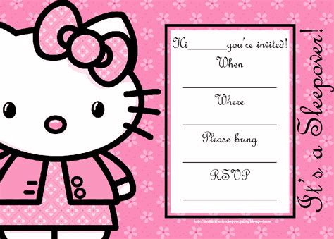 hello kitty printable invitation template invitations for sleepover party