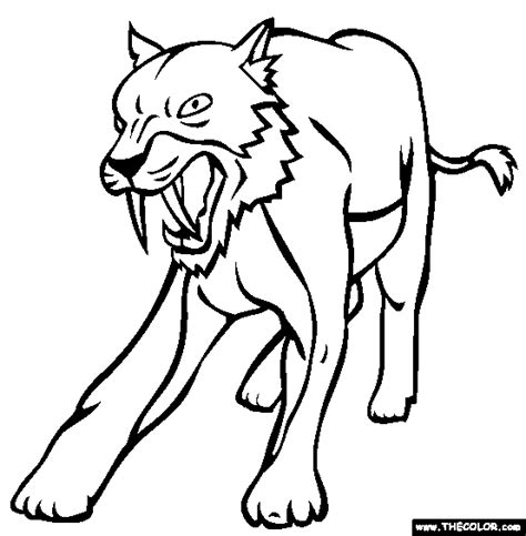 sabertooth cat coloring page free sabertooth cat online