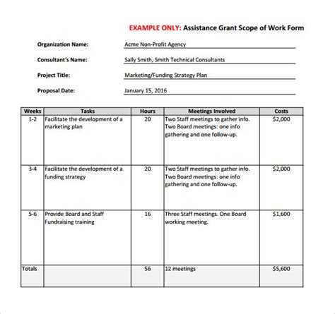 23 Sle Scope Of Work Templates To Download Sle Templates Construction Scope Of Work Template Excel