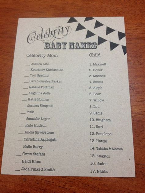 celebrity card games rustic celebrity baby name game cards set by