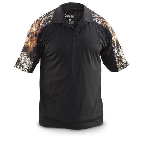 Tshirt Berak Black C M065 guide gear s camo sleeve polo shirt mossy oak